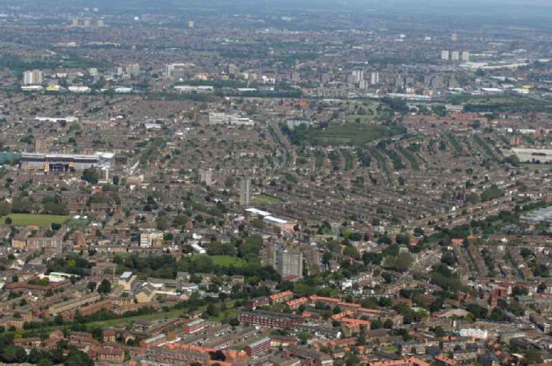 View over the east end of London and to the football stadium Boleyn Ground in the district Upton Park in London  in the county of Greater London in the UK. The Boleyn Ground is the home ground of West Ham United.