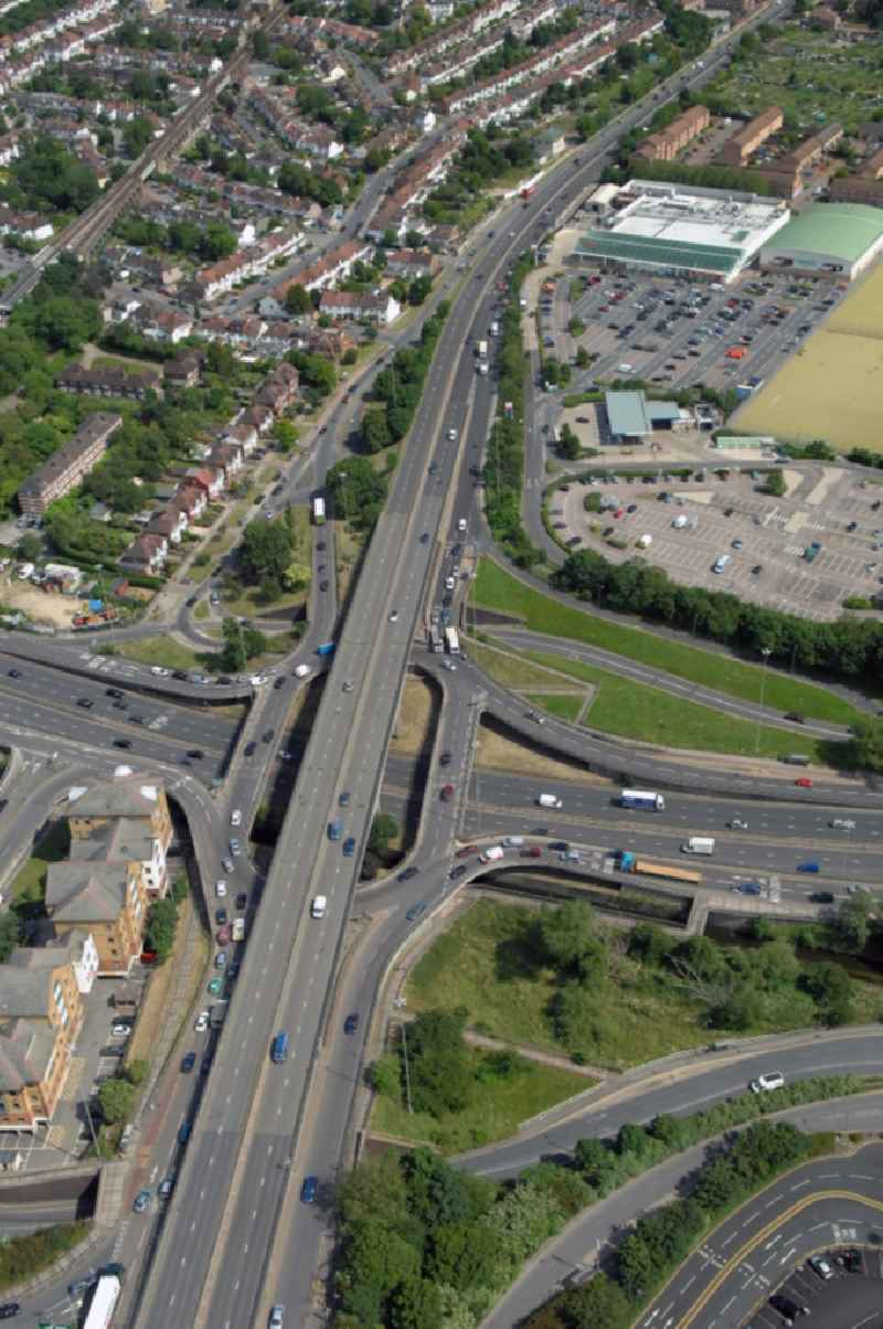 View at the Brent Cross flyover interchange in the district Barnet in London in the county of Greater London in the UK. Here in North West London the motorways A41 Hendon Way and the A406 North Circular Road get connected with each other