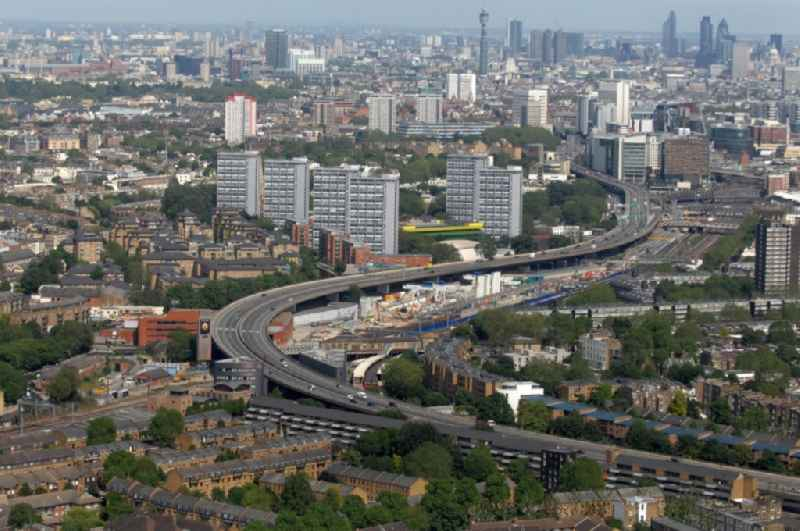 View of the Westway of the A40 Road in the district City of Westminster in London in the county Greater London in the UK.