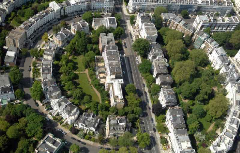 View of the Ladbroke Estate in Notting Hill in the district of the Royal Borough of Kensington and Chelsea in London in the county of Greater London in the UK