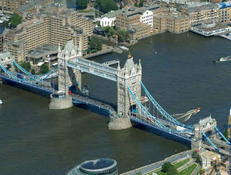 View of Tower Bridge on the banks of the Thames - the symbol of London.