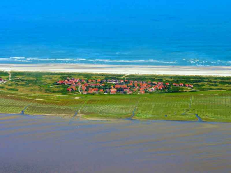 Village on marine coastal area of North Sea island of Juist in Loog in the state Lower Saxony, Germany