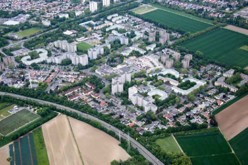 High-rise ensemble of Londoner Ring in the district Pfingtsweide in Ludwigshafen am Rhein in the state Rhineland-Palatinate.