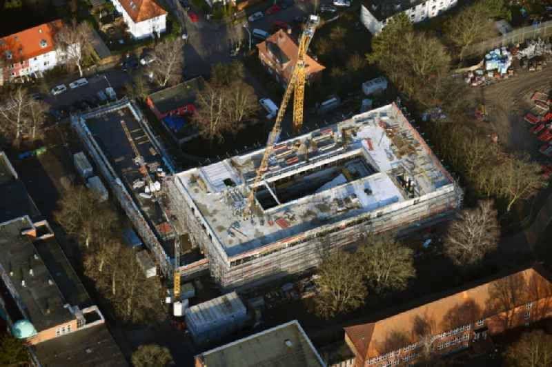 New construction site of the school building of GGS St Juergen on Moenkhofer Weg in the district Huextertor - Muehlentor - Gaertnergasse in Luebeck in the state Schleswig-Holstein, Germany