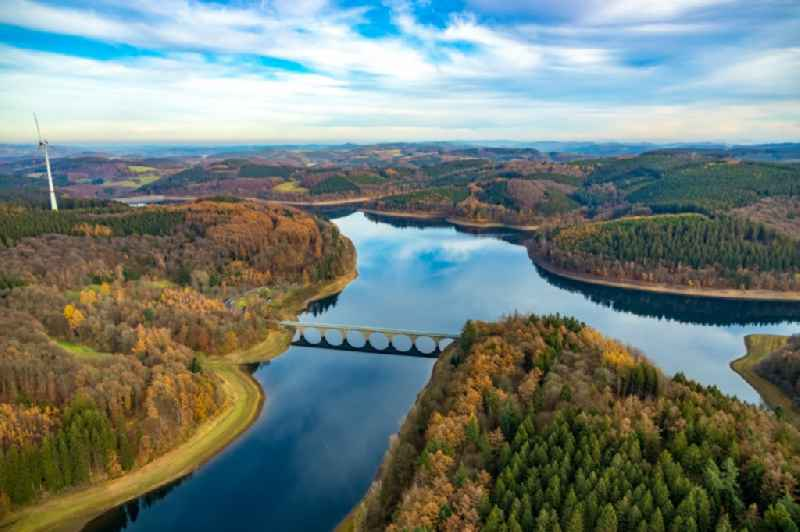 Shoreline areas to be exposed of Versetalsperre in Luedenscheid in the state North Rhine-Westphalia, Germany.