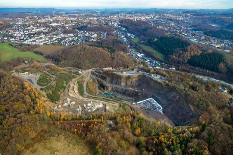 Quarry and the landfill Loesbach in Luedenscheid in the state of North Rhine-Westphalia, Germany. Further information at: Westdeutsche Grauwacke-Union GmbH.