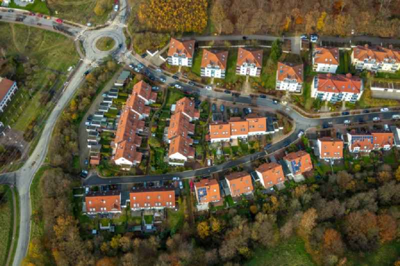 Residential area of the multi-family house settlement in the district Vogelberg in Luedenscheid in the state North Rhine-Westphalia, Germany.