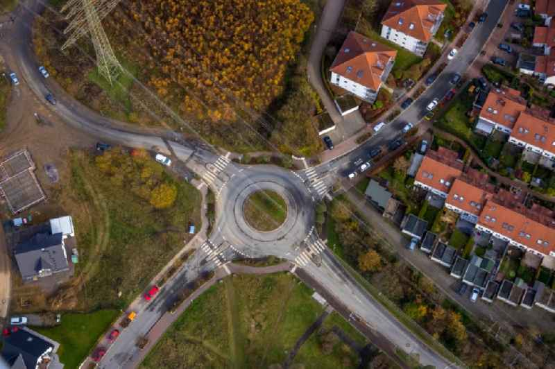 Traffic management of the roundabout road in the district Vogelberg in Luedenscheid in the state North Rhine-Westphalia, Germany.