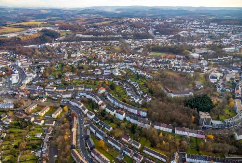 Town View of the streets and houses of the residential areas in the district Worth in Luedenscheid in the state North Rhine-Westphalia, Germany.