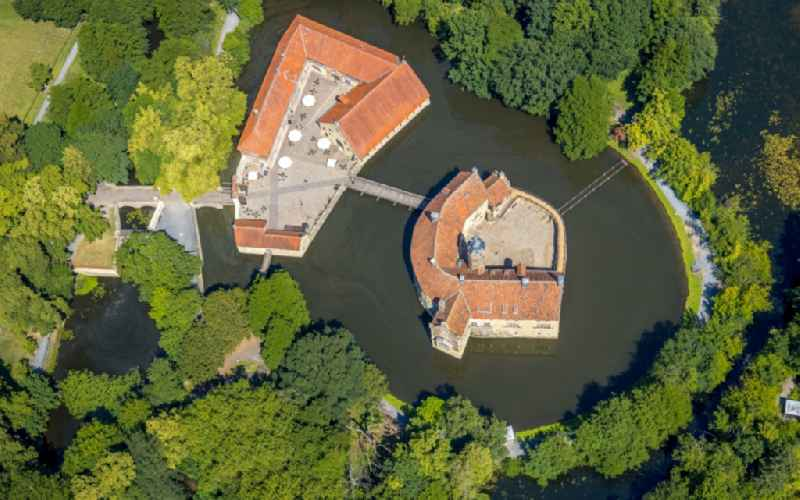 Building and castle park systems of water castle Vischering in Luedinghausen in the state North Rhine-Westphalia
