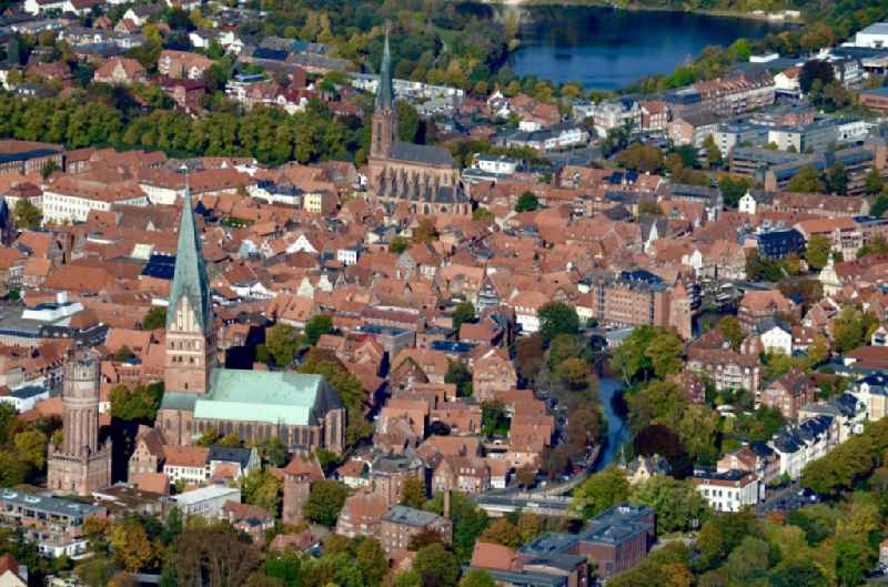 Old Town area and city center in Lueneburg in the state Lower Saxony, Germany