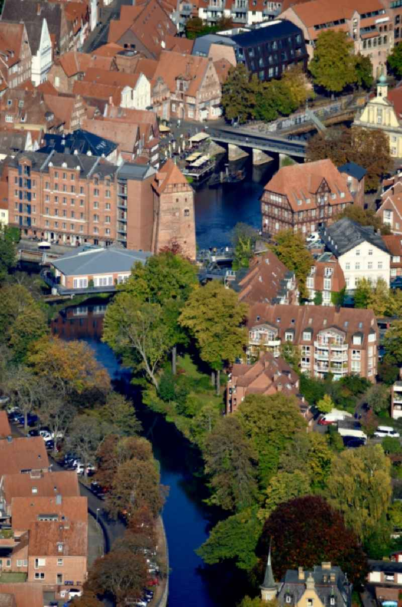 Old Town area and city center on Ilmenau in Lueneburg in the state Lower Saxony, Germany