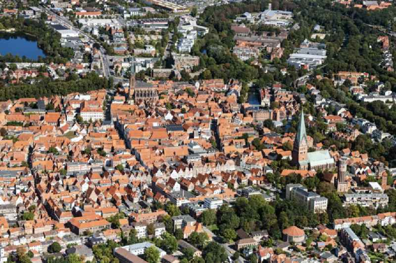 Old Town area and city center in Lueneburg in the state Lower Saxony