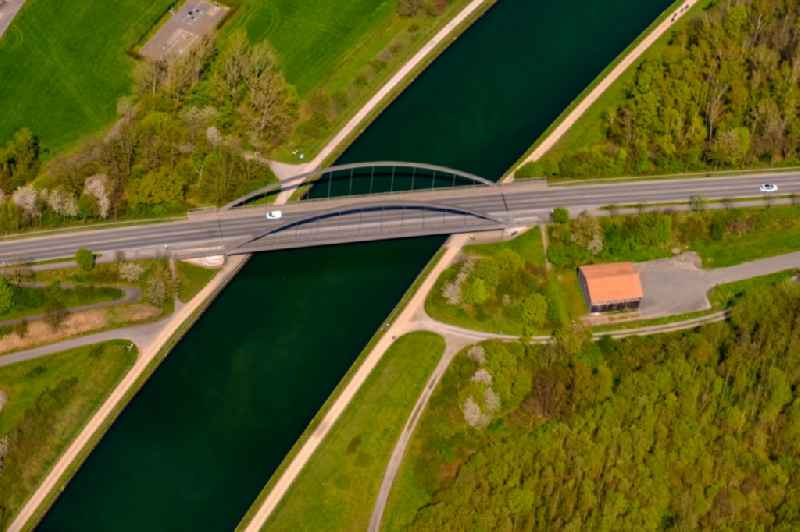 River - bridge construction in Luenen in the state North Rhine-Westphalia, Germany