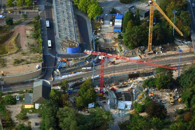 Construction site for the new channel building Citytunnel in Magdeburg in the state Saxony-Anhalt