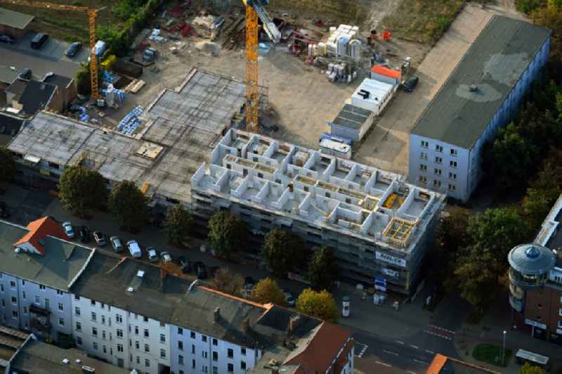 Construction site of a new build retirement home on Liebknechtstrasse corner Wilhelm-Kobelt-Strasse in the district Stadtfeld Ost in Magdeburg in the state Saxony-Anhalt, Germany