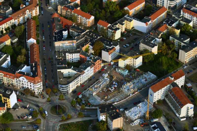Construction site for the multi-family residential building Wittenberger Platz - Rogaetzer Strasse - Schifferstrasse in the district Alte Neustadt in Magdeburg in the state Saxony-Anhalt, Germany