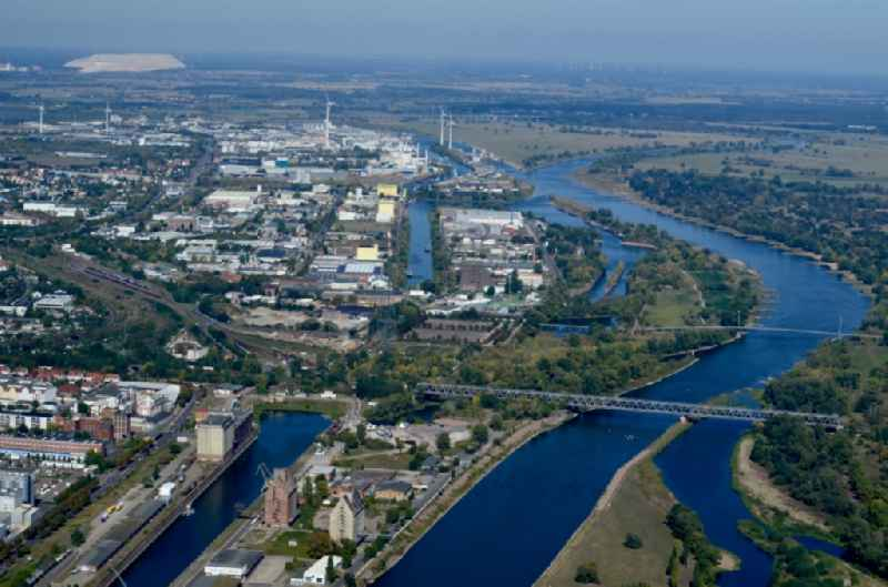 Curved loop of the Elbe riparian zones on the course of the river Industriehafen in Magdeburg in the state Saxony-Anhalt, Germany