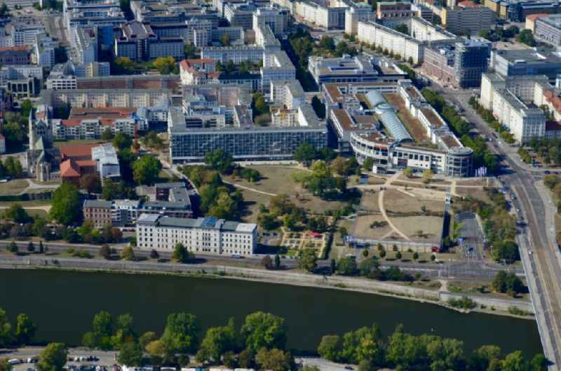 City center in the downtown area on the banks of river course of the River Elbe in Magdeburg in the state Saxony-Anhalt, Germany