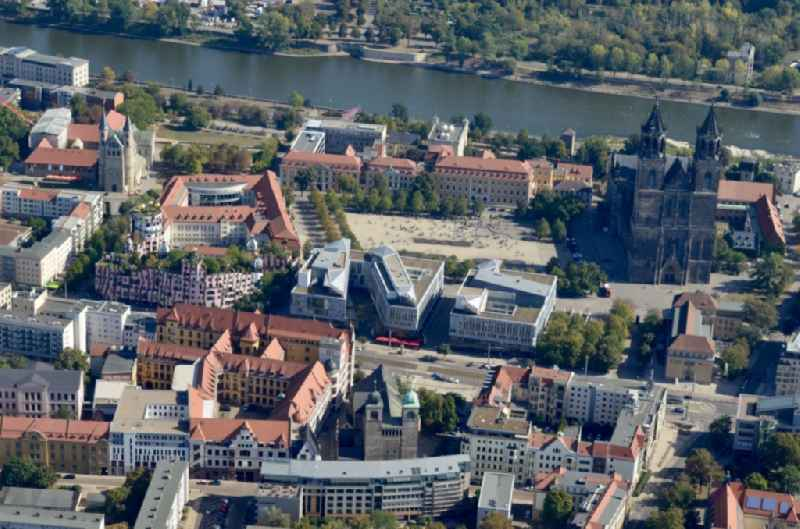 Old Town area and city center in Magdeburg in the state Saxony-Anhalt, Germany