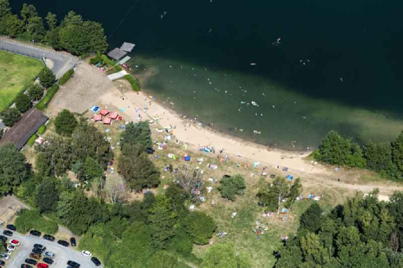 Sandy beach areas on the ' Koenigsee Strandbad ' in Mainhausen in the state Hesse, Germany