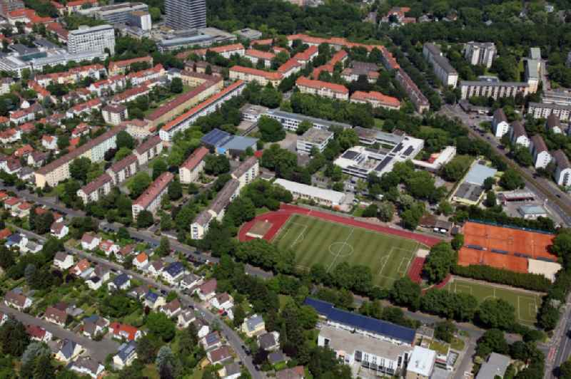 Sports grounds and football pitch of Mainzer Turnvereins 1817 in Mainz in the state Rhineland-Palatinate, Germany