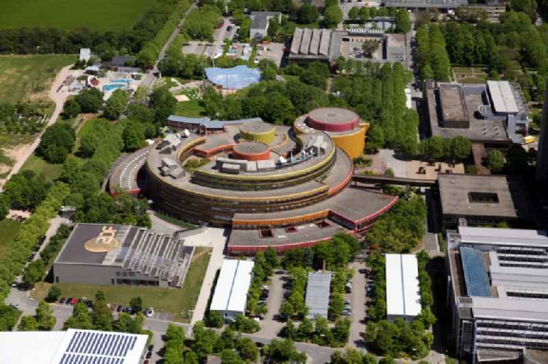 Complex of buildings with satellite dishes on the transmitter broadcasting center ' ZDF - Zweites Deutsches Fernsehen ' in the district Lerchenberg in Mainz in the state Rhineland-Palatinate, Germany