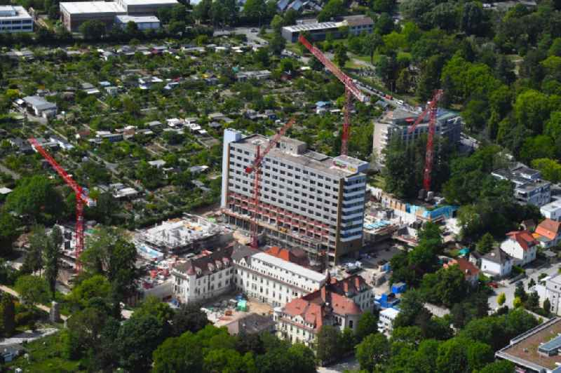 Construction site for the conversion of the former Hildgardis hospital to the 'residential district Hildegardis' in Mainz in the state Rhineland-Palatinate, Germany