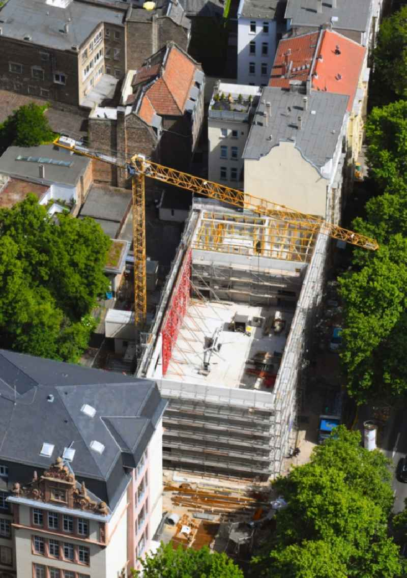 Construction site for the multi-family residential building on Rheinallee in the district Neustadt in Mainz in the state Rhineland-Palatinate, Germany