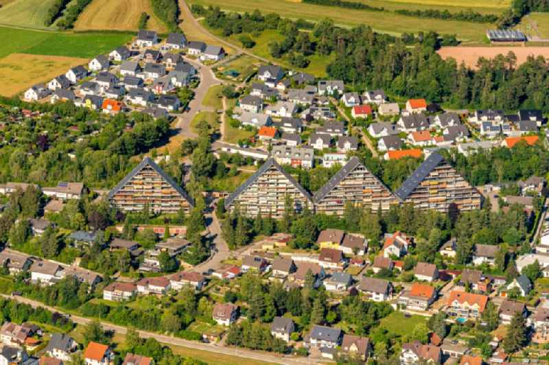 High-rise building in the residential area with Giebel Bauform in Marbach in the state Baden-Wuerttemberg, Germany