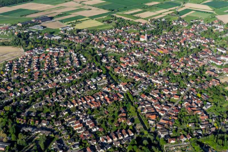 Town View of the streets and houses of the residential areas in Meissenheim in the state Baden-Wuerttemberg