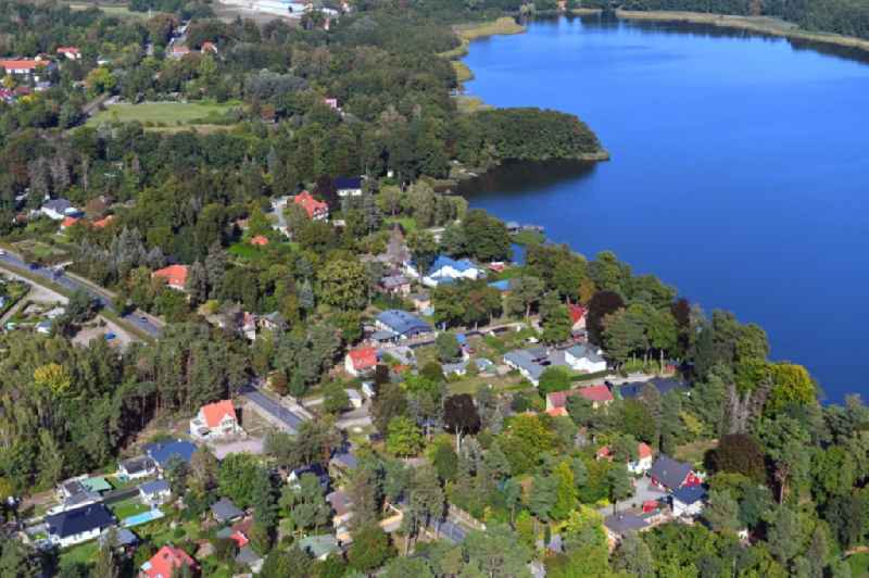 Village on the banks of the area lake of Mellensee in Mellensee in the state Brandenburg, Germany