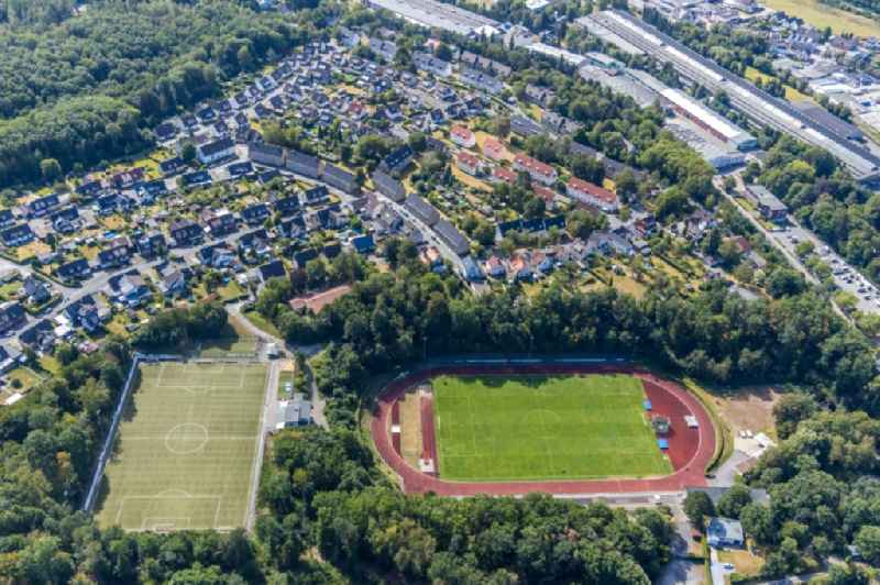 Sports facility grounds of stadium ' Huckenohl-Stadion ' in Menden (Sauerland) in the state North Rhine-Westphalia, Germany
