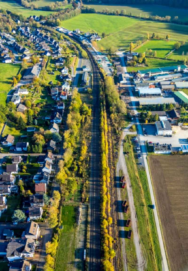 Town View of the streets and houses of the residential areas along a disused railway line in Meschede in the state North Rhine-Westphalia, Germany.