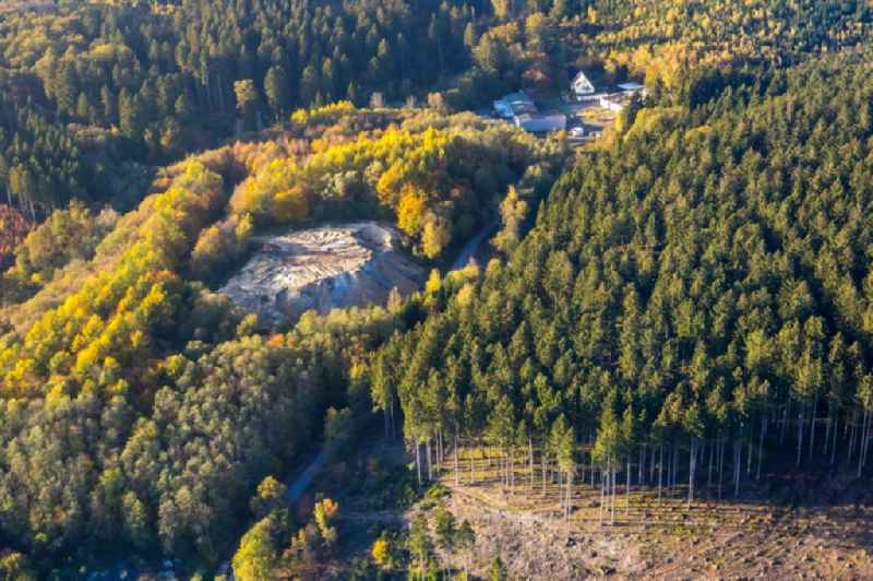 Site of heaped landfill in a forest area in Meschede in the state North Rhine-Westphalia, Germany.