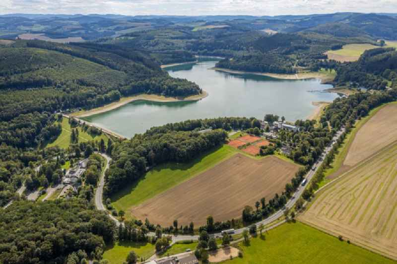 Shore areas and dam at the reservoir 'Hennesee' in Meschede in the state North Rhine-Westphalia, Germany