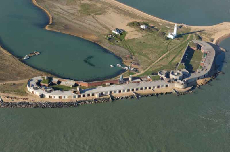 Fragments of the fortress Hurst Castle in Milford on Sea in England, United Kingdom