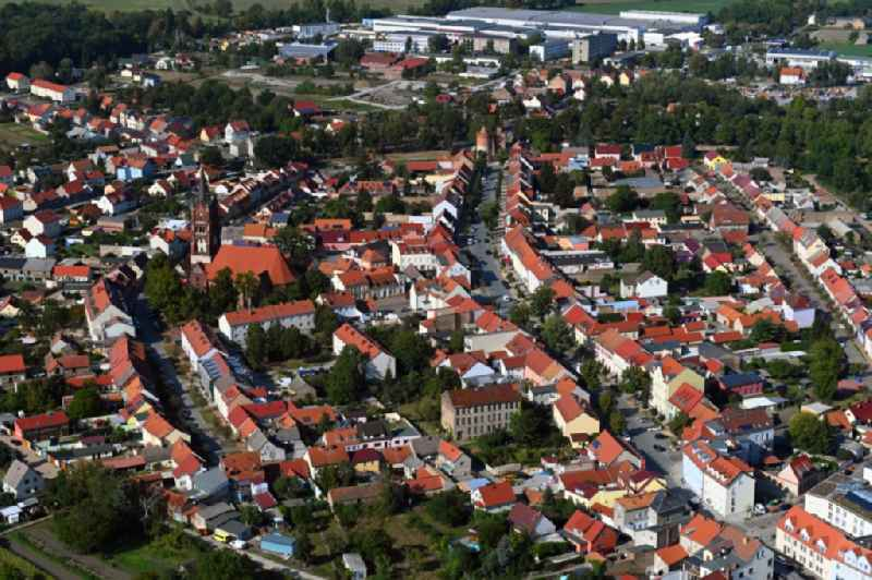 Town View of the streets and houses of the residential areas in Mittenwalde in the state Brandenburg, Germany