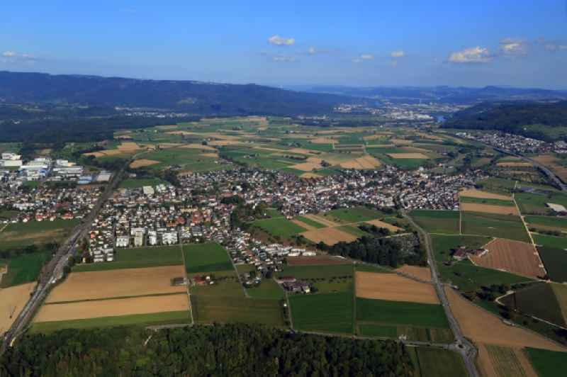 City area and landscape around Moehlin in the canton Aargau, Switzerland.
