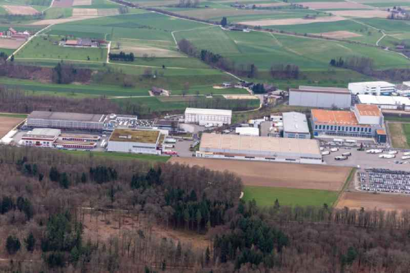 Technical facilities in the industrial area Riburg with Rodi Fructus, Kuehne + Nagel, DPD, Galliker Transport AG and Louis Ditzler AG in Moehlin in the canton Aargau, Switzerland