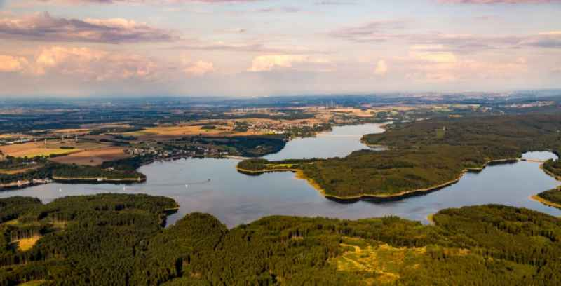 Impoundment and shore areas at the lake Moehnesee in the state North Rhine-Westphalia, Germany