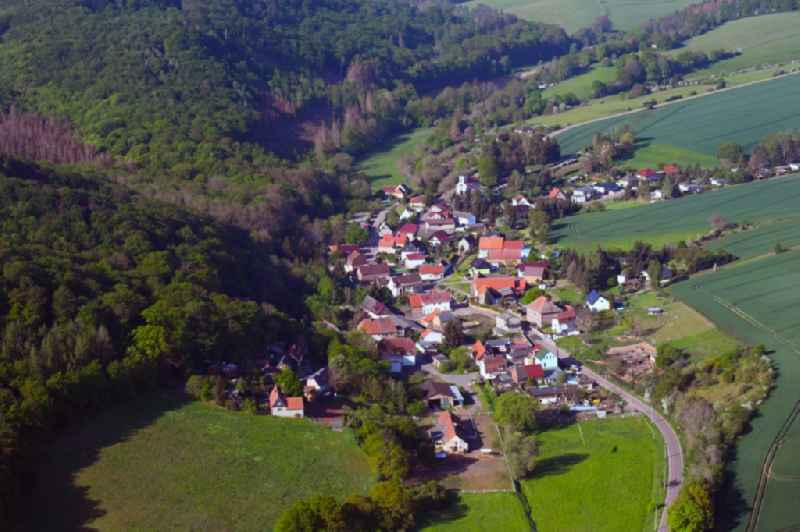 Village - view on the edge of forested areas in Moellendorf in the state Saxony-Anhalt, Germany