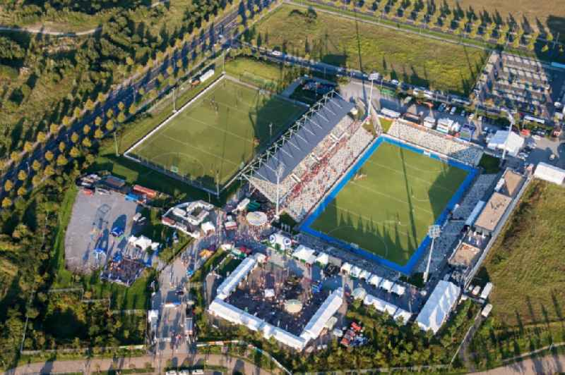Santander FohlenCampus auf dem Sportstaetten-Gelaende der Arena des Stadion  BORUSSIA-PARK in Moenchengladbach im Bundesland Nordrhein-Westfalen, Deutschland Sports facility grounds of the Arena stadium  BORUSSIA-PARK in Moenchengladbach in the state North Rhine-Westphalia, Germany