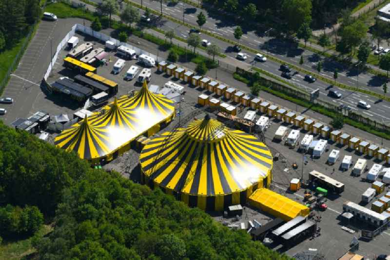 Tent cupolas of the circus 'Flic Flac' in Moenchengladbach in the state of North Rhine-Westphalia, Germany