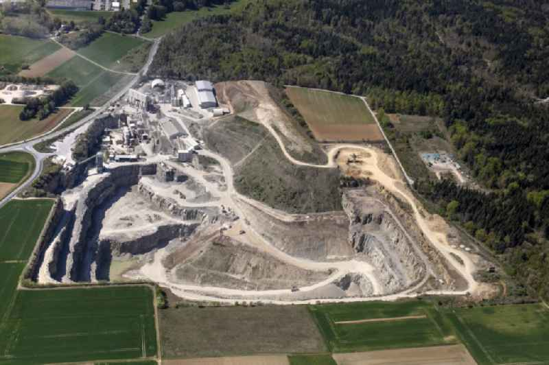 Quarry for the mining and handling of Schotterwerk Moetzingen in the state Baden-Wurttemberg, Germany