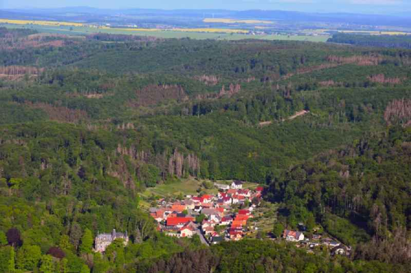 Village - view on the edge of forested areas in Morungen in the state Saxony-Anhalt, Germany