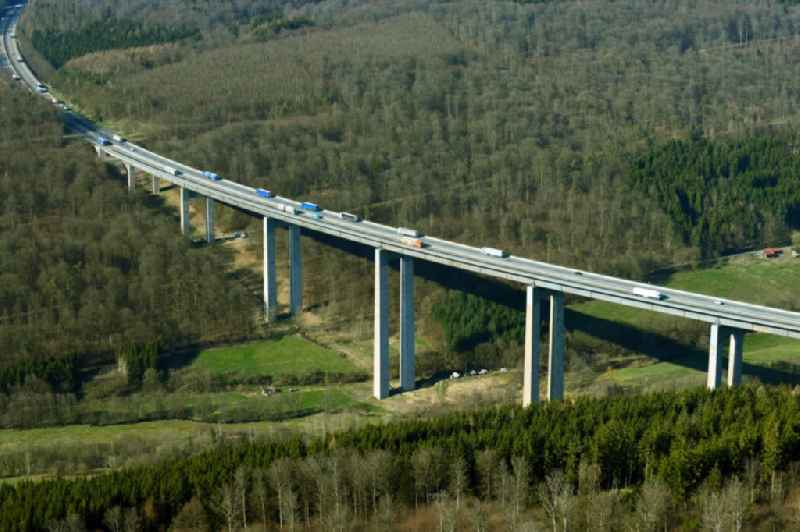 Routing and traffic lanes over the highway bridge in the motorway A 7 - Grenzwaldbruecke in Motten in the state Bavaria, Germany