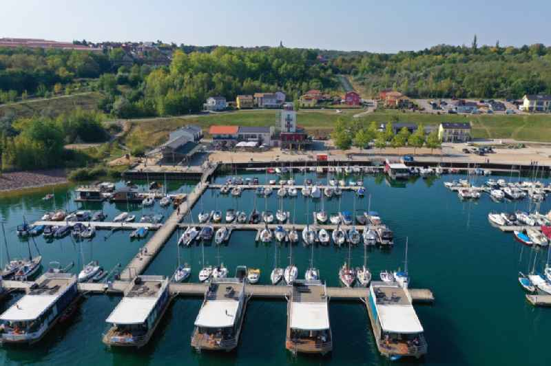 Pleasure boat marina with docks and moorings on the shore area of Geiseltalsee of Marina Muecheln GmbH on Hafenplatz in Muecheln (Geiseltal) in the state Saxony-Anhalt, Germany