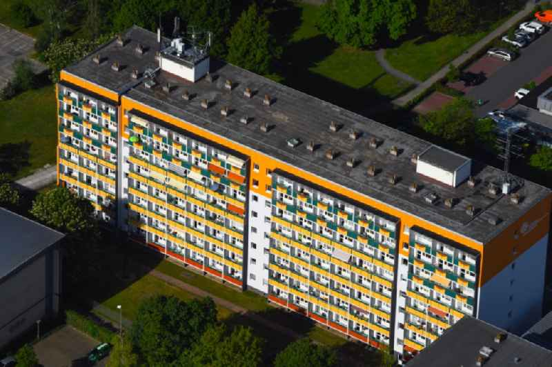 Balconies and windows Facade of the high-rise residential development on Feldstrasse in Muehlhausen in the state Thuringia, Germany
