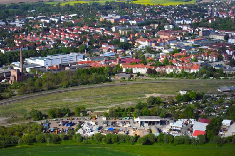 Development area of the decommissioned and unused land and real estate on the former marshalling yard and railway station of Deutsche Bahn in the district Goermar in Muehlhausen in the state Thuringia, Germany